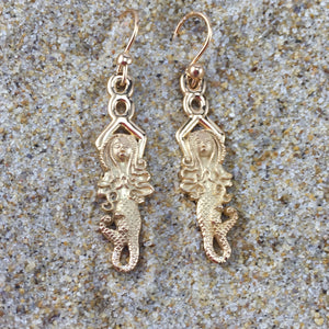 Mermaid Dangle Earrings Goddess Of Eternal Waves Vermeil-Jenstones Jewelry