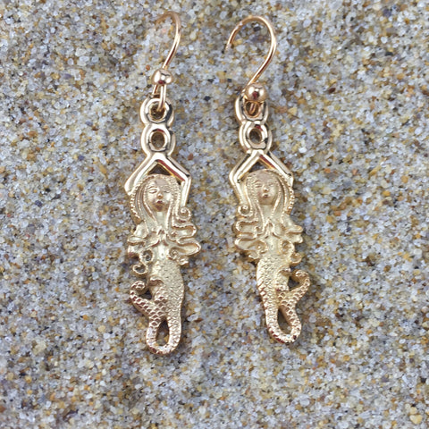 Mermaid Dangle Earrings Goddess Of Eternal Waves Vermeil
