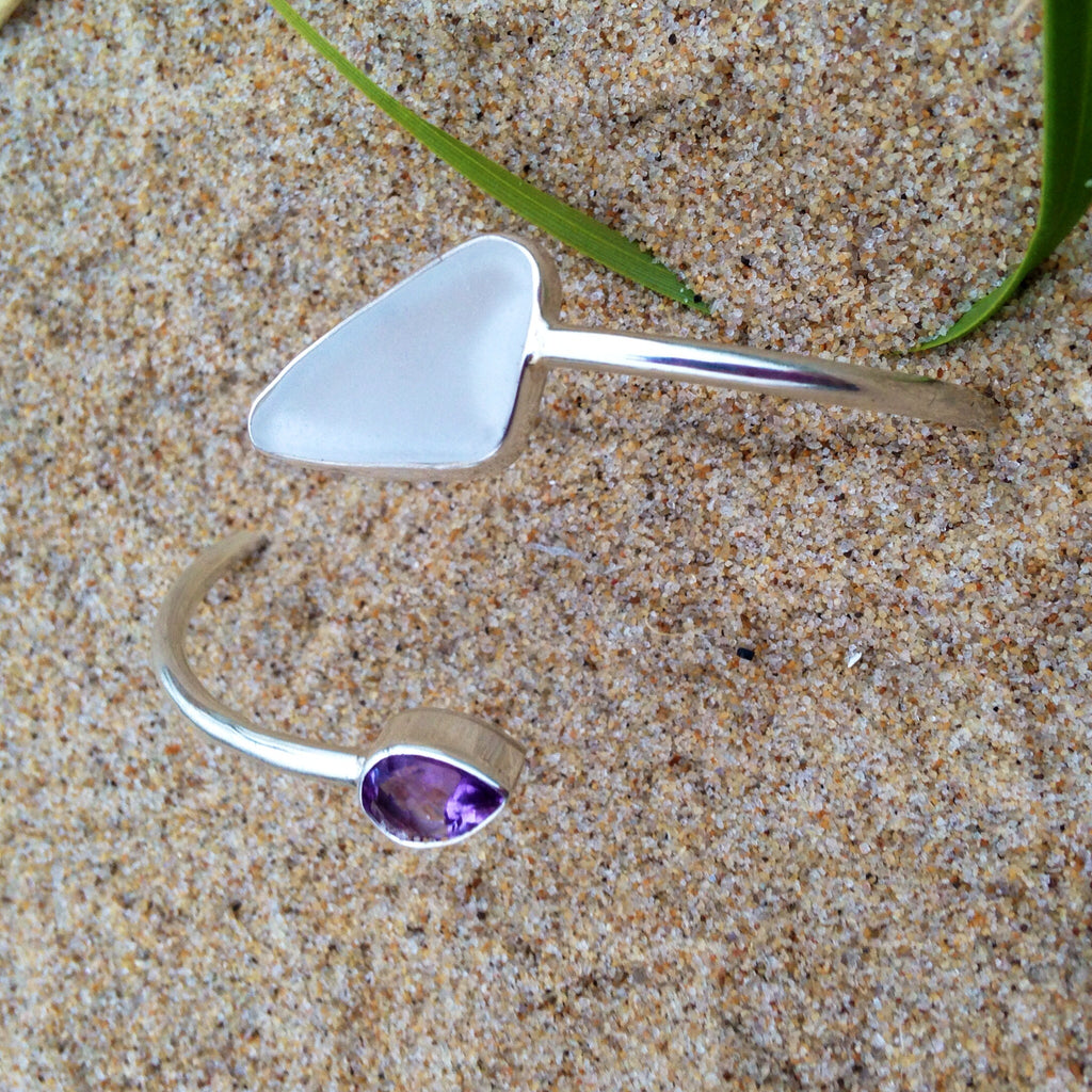 Wrap Bangle Sea Glass and Amethyst