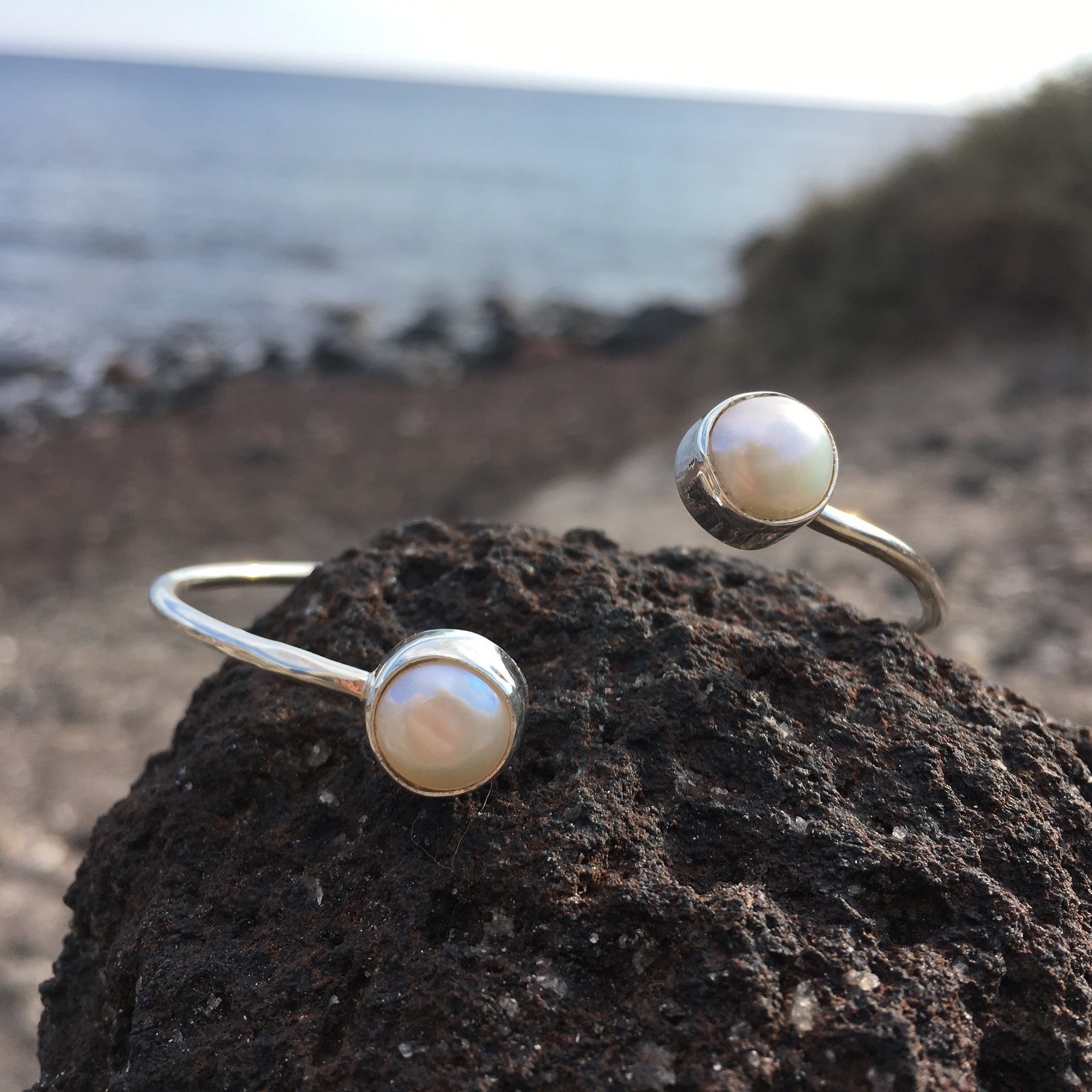 Wrap Bangle White Pearl-Jenstones Jewelry