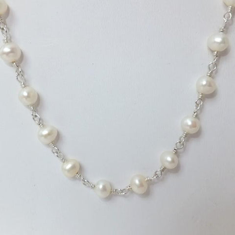 Sterling Chain Necklace with White Pearls