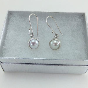 Pearl Earrings White Fresh Water Dangle-Jenstones Jewelry