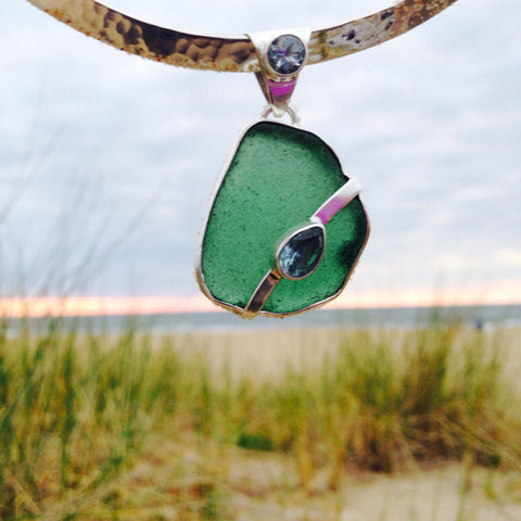 Window Pendant Sea Glass and Blue Topaz