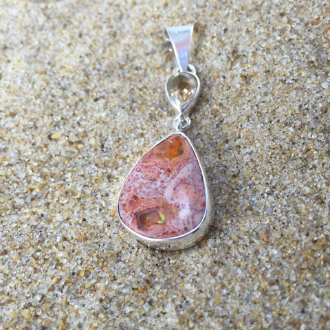 Pendant Mexican Fire Opal and Citrine