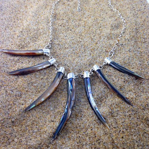 Tusk Necklace, Sterling with Abalone