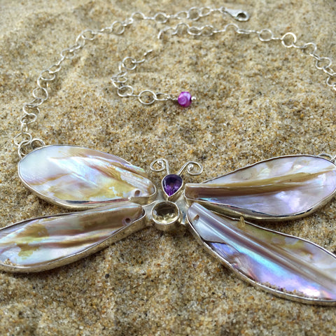 Butterfly Necklace Mother Of Pearl with Amethyst and Peridot