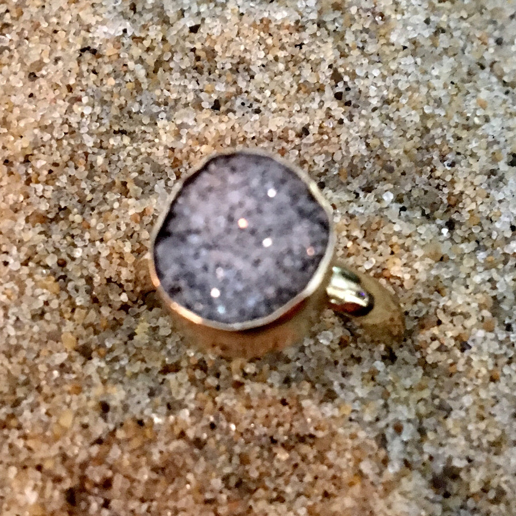 Bronze Ring with ice Druze Oval Small