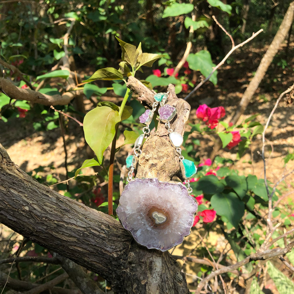 Necklace Stalactite Amethyst, Emerald, & Moonstone-Jenstones Jewelry
