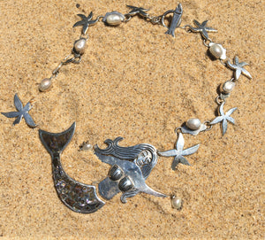 Tropical Mermaid with Pearls and Abalone Inlay-Jenstones Jewelry