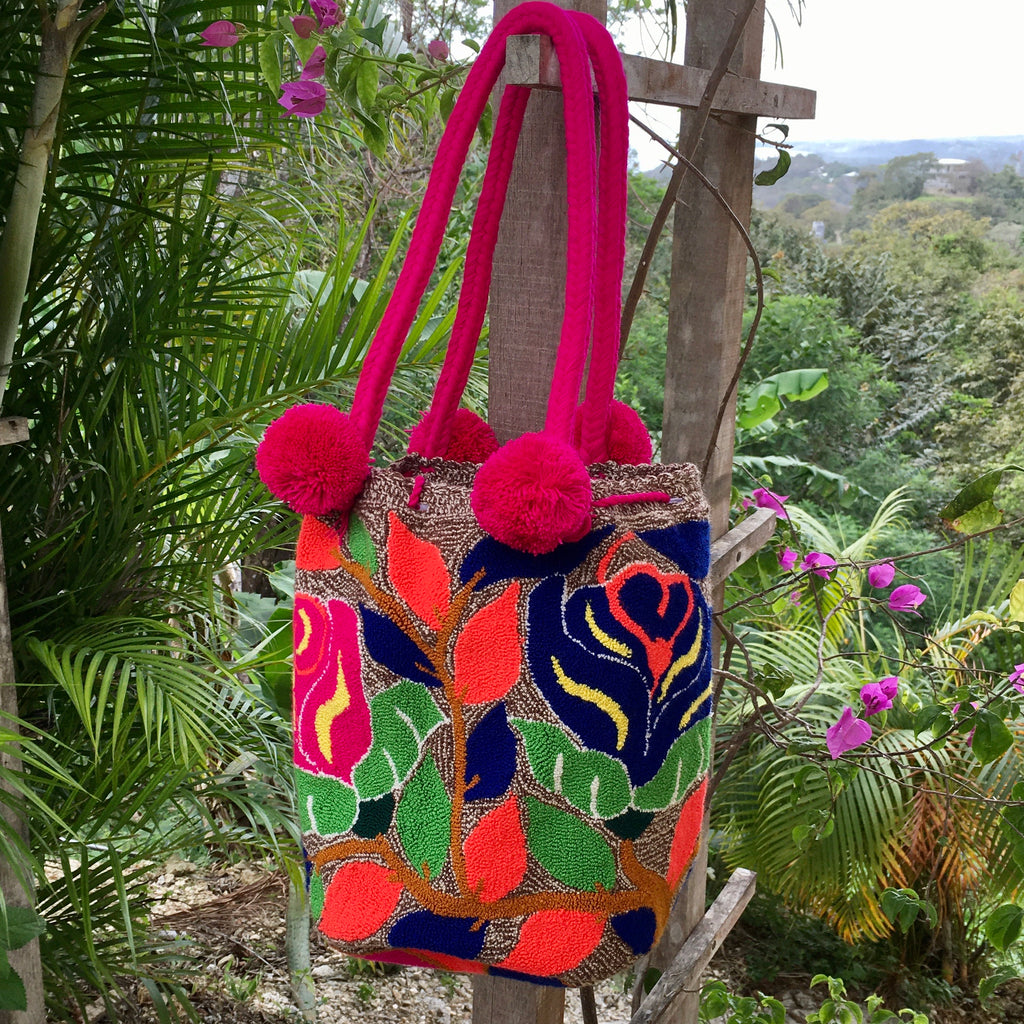 "Mochila ""Rose Garden""Large Pom Pom Braid Design-Jenstones Jewelry"