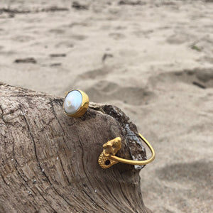 Pearl and Mermaid Bronze Wrap Cuff-Jenstones Jewelry
