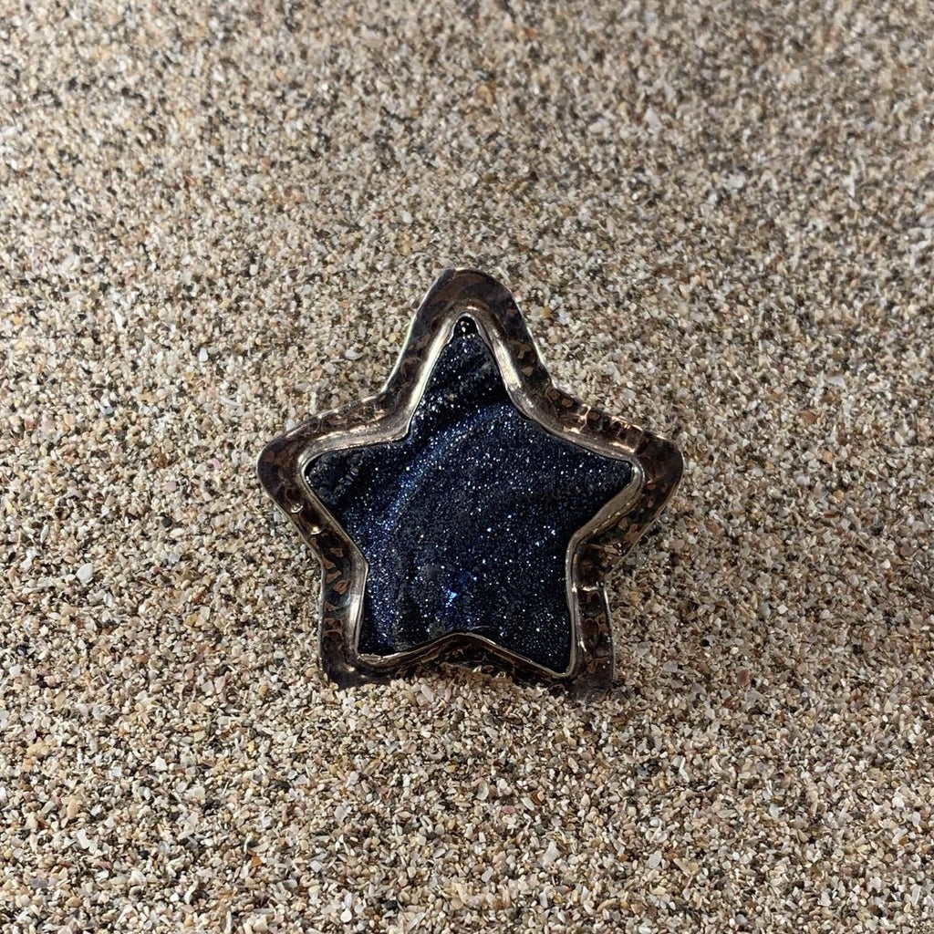 Hammered Blue Star Druze Ring-Jenstones Jewelry