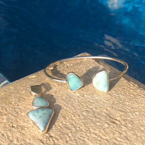Wrap Bangle Larimar & Blue Opal-Jenstones Jewelry