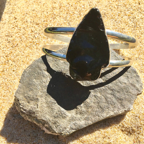 Double Cuff Obsidian Dragon Glass