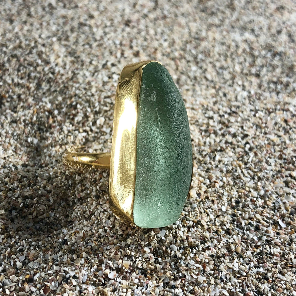 Bronze Sea Glass Ring Sea Foam Green-Jenstones Jewelry