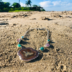 Geode Necklace with Emerald and Amethyst-Jenstones Jewelry