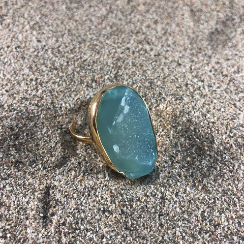 Ring Druzy Blue Agate Bronze