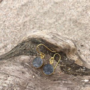 Silver Druzy Bronze Earrings-Jenstones Jewelry