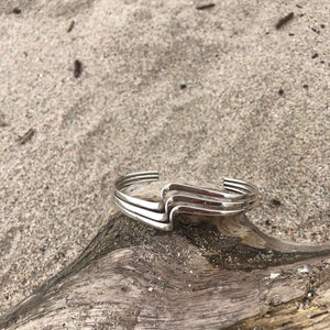 Triple Wave Cutback, Sterling Cuff-Jenstones Jewelry