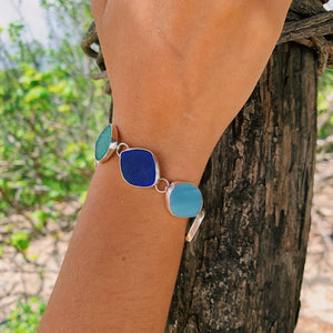Link Bracelet Ocean Bliss Sea Glass-Jenstones Jewelry