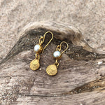 Load image into Gallery viewer, Clam and Pearl Dangle Bronze Earrings-Jenstones Jewelry