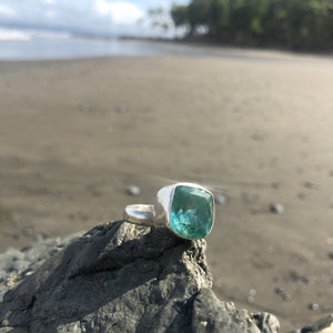 Green Amethyst Faceted Square Ring-Jenstones Jewelry