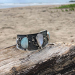 Load image into Gallery viewer, Moonstone & Larimar Cuff Repousse'-Jenstones Jewelry