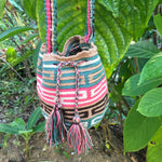 Load image into Gallery viewer, Pink Tribal Snake Design Mochila-Jenstones Jewelry
