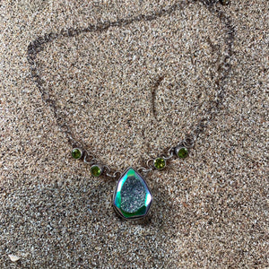 Peacock Druzy and Peridot Necklace-Jenstones Jewelry