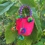 Load image into Gallery viewer, Mochila Hot Pink Small Pom Pom-Jenstones Jewelry