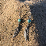 Load image into Gallery viewer, Turquoise Feather Earrings-Jenstones Jewelry