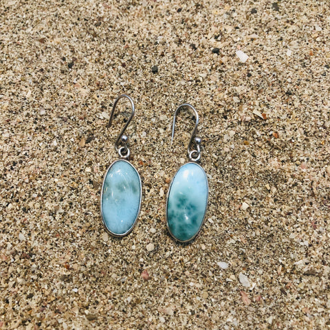 Larimar Earrings Round Oval
