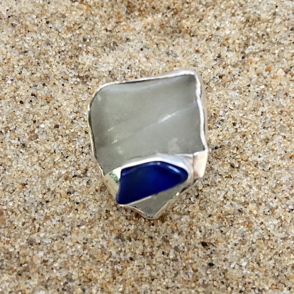 Ring Sterling with White Sea Glass and Banded Cobalt Blue Sea Glass