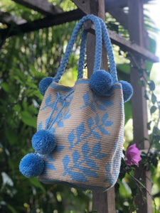 Powder Blue and Beige Floral, Pom Pom Mochila-Jenstones Jewelry