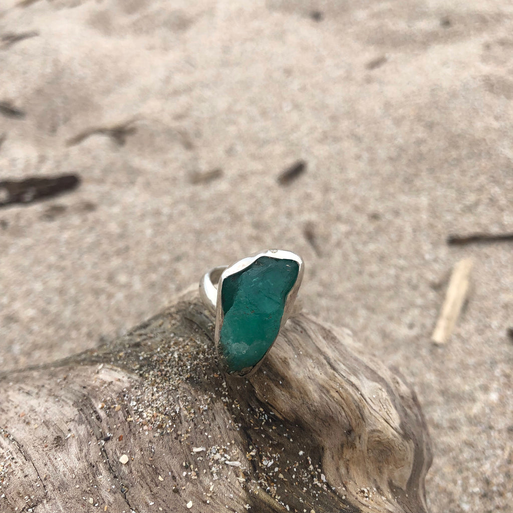 Emerald Sterling Silver Raw Ring-Jenstones Jewelry