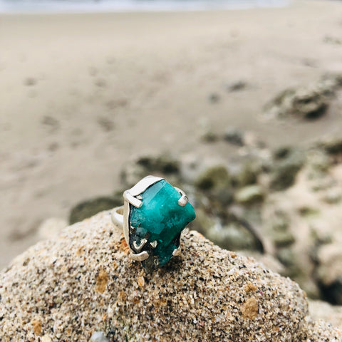Emerald & Pyrite Ring Raw Prong Setting