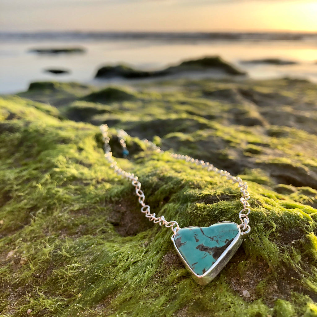 Turquoise Heart Necklace-Jenstones Jewelry