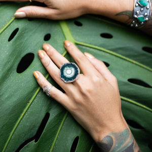 Stalactite Slice Ring Green Agate-Jenstones Jewelry
