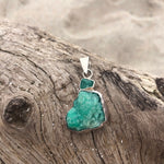 Load image into Gallery viewer, Raw Double Emerald Sterling Silver Pendant-Jenstones Jewelry