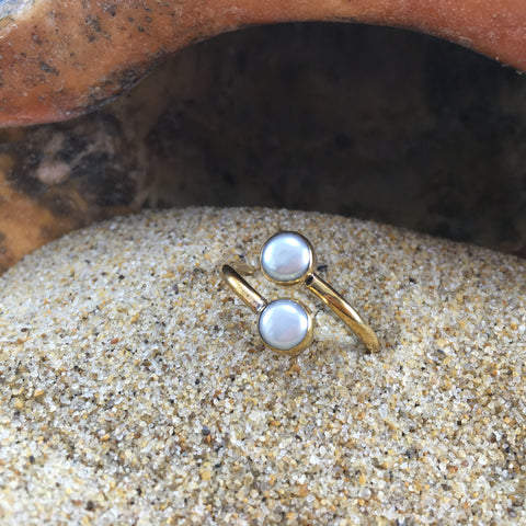 Bronze Wrap Ring White Pearl
