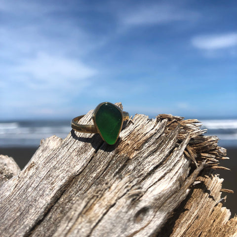 Bronze Sea Glass Ring Green Small