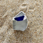 Load image into Gallery viewer, Ring Sterling with White Sea Glass and Banded Cobalt Blue Sea Glass-Jenstones Jewelry