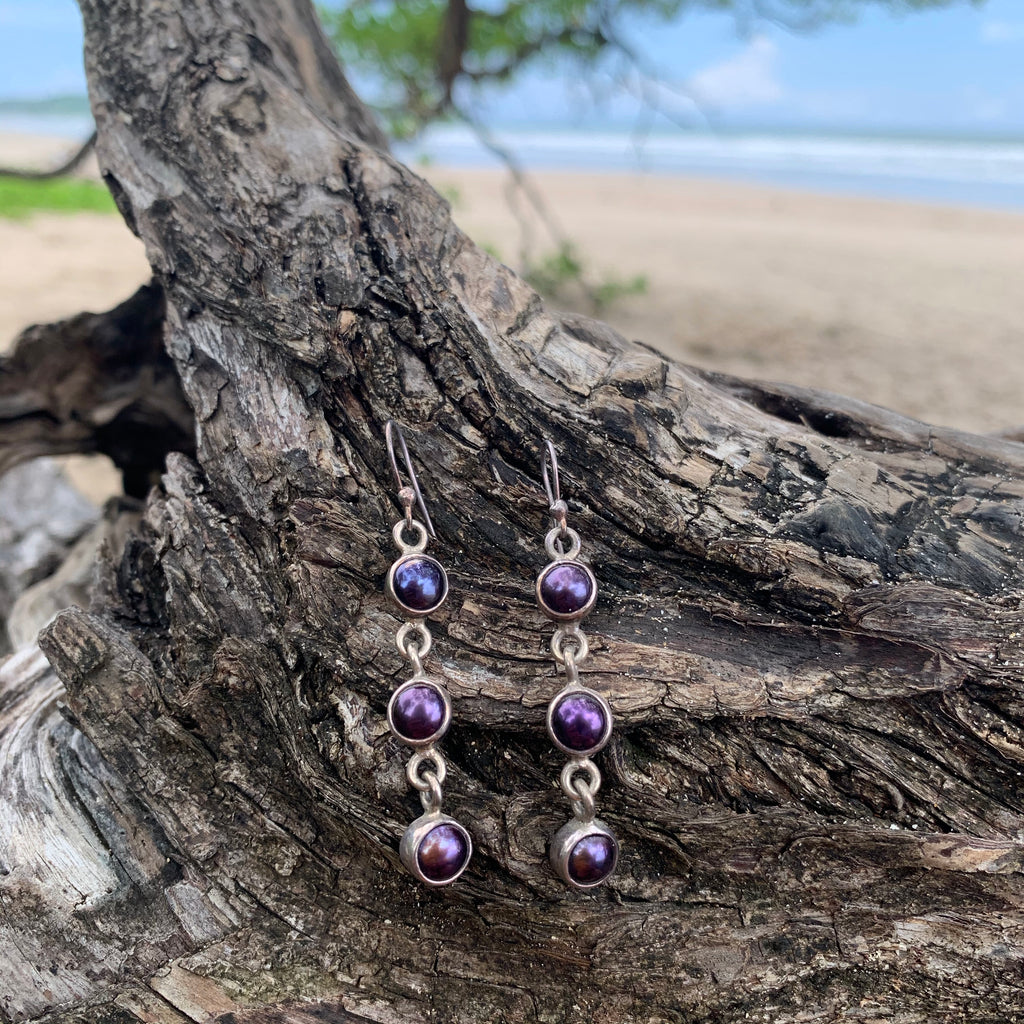 Freshwater Pearl Purple Earrings-Jenstones Jewelry