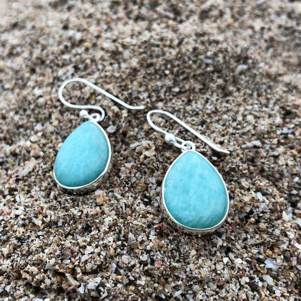 Amazonite Tear Earrings-Jenstones Jewelry