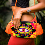 Load image into Gallery viewer, Mochila Orange & Black Clutch-Jenstones Jewelry