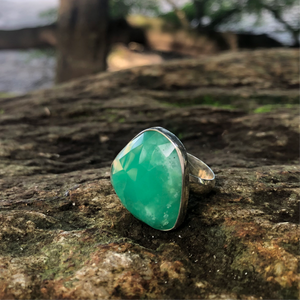 Chalcedony Facet Ring-Jenstones Jewelry