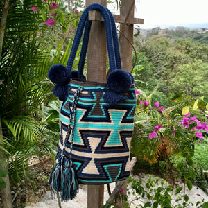 Mochila Blue Hourglass Design Large Pom Pom Braid-Jenstones Jewelry