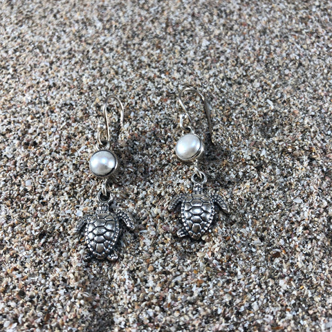 Double Pearl & Sterling Turtle Earrings