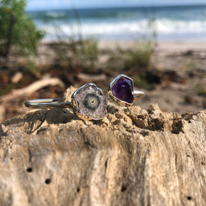 Raw Amethyst & Geode Wrap Bangle-Jenstones Jewelry