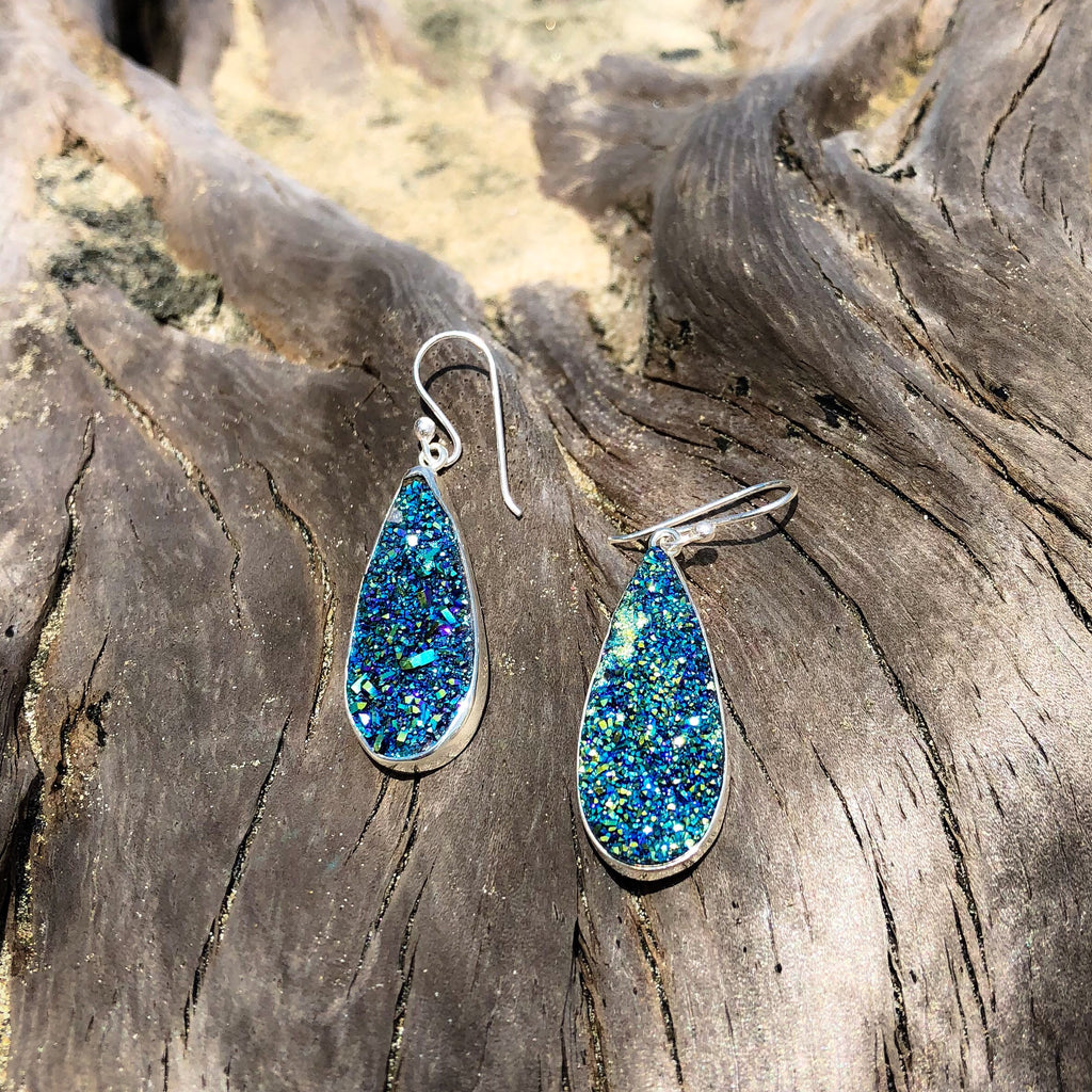 Druzy Tear Drop Dangles Titanium